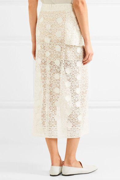 Stella McCartney - Appliquéd Cotton-blend Lace Midi Skirt - Ivory - IT