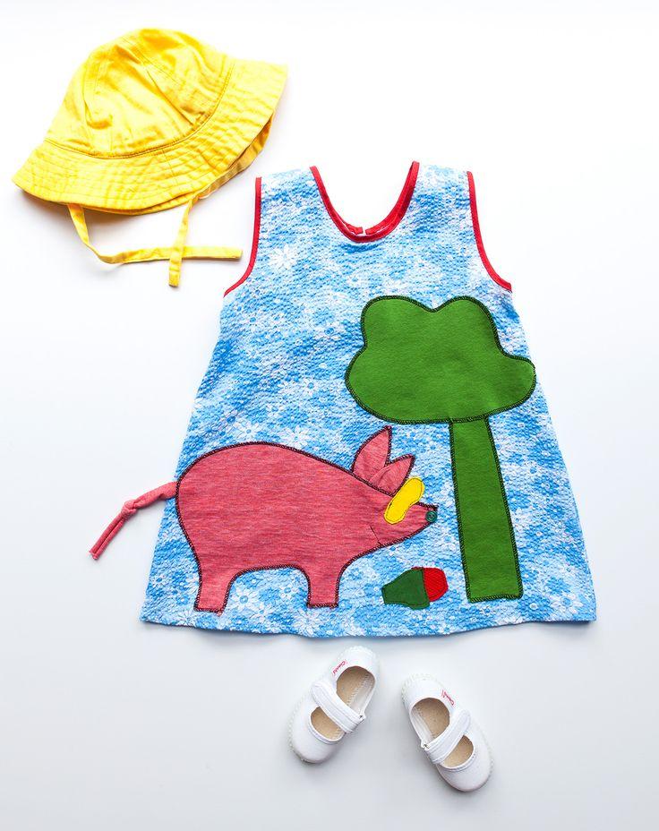 childrens appliqué cotton dress / handmade / athens greece