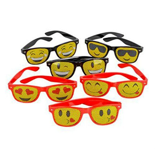 LOT OF 12 EMOJI SUNGLASSES LOT OF 12 MESH EMOJI SUNGLASSES DESIGNS VARY, MAY BE DUPLICATION. It's been said that the eyes are the windows to the soul. In this particular case, your emotions are easily read in the lenses on your shades. This collection of novelty sunglasses features a variety of emoji prints. An …