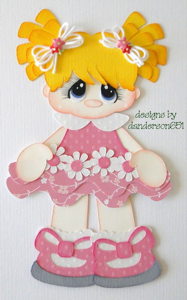 Girl Pink White Dress Premade Paper Piecing 4 Scrapbooking Page Albums Borders