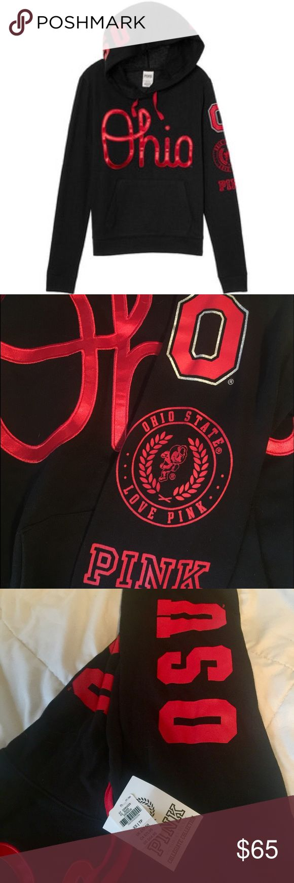 NWT Victoria's Secret Ohio State hoodie. New with tags XS black and red Victoria's Secret VS PINK pullover hoodie. OSU Ohio State Buckeye's NWT Victoria's Secret Tops Sweatshirts & Hoodies
