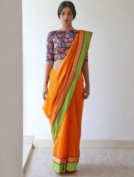 What a floral blouse can do to an orange ramkali chanderi and zari saree. <3