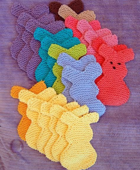 Hand Knit Easter Bunny Appliques Large by DowningFarmCreations