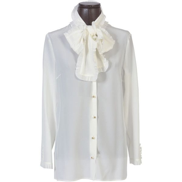 Gucci Shirts (3.185 BRL) ❤ liked on Polyvore featuring tops, white, white bow top, bow top, silk shirt, white silk shirt and shirt top