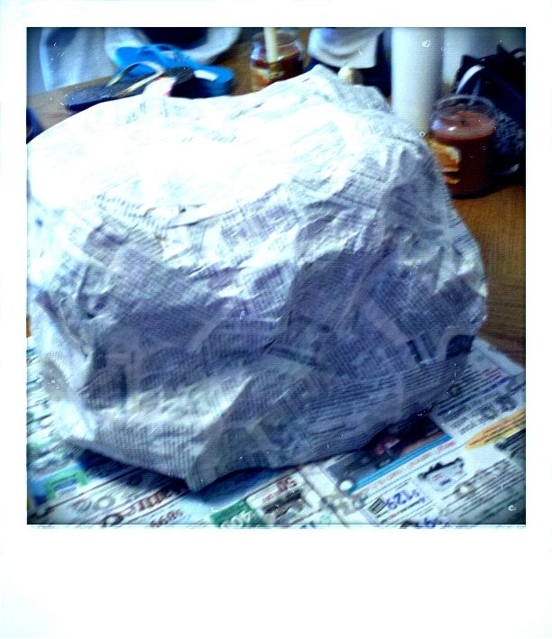 Papier mache boulder in progress for theater set crafts for Papier mache rocks