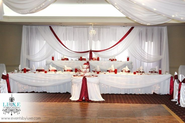 Burgundy And White Wedding Backdrop And Head Tables