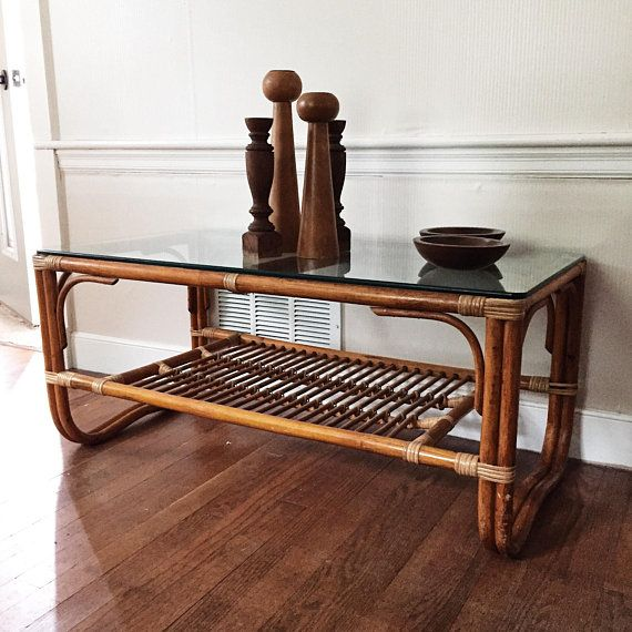 Vintage Franco Albini Style Rattan Coffee Table Two Tiered Rattan