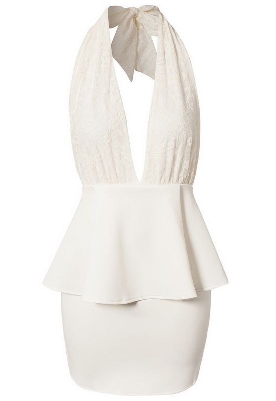White halter peplum dress available from Lush Wear - www.lushwear.co.za #lushwear #fashion #dress #peplum #halter #lowcut
