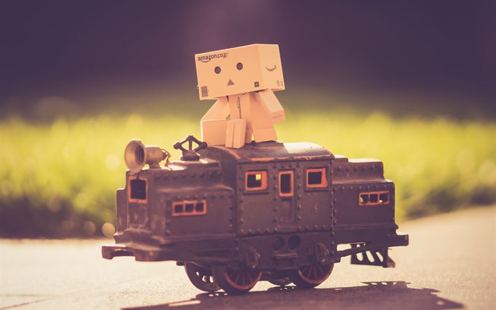 Download wallpapers Danbo, 4k, cardboard robot, train, danboard box