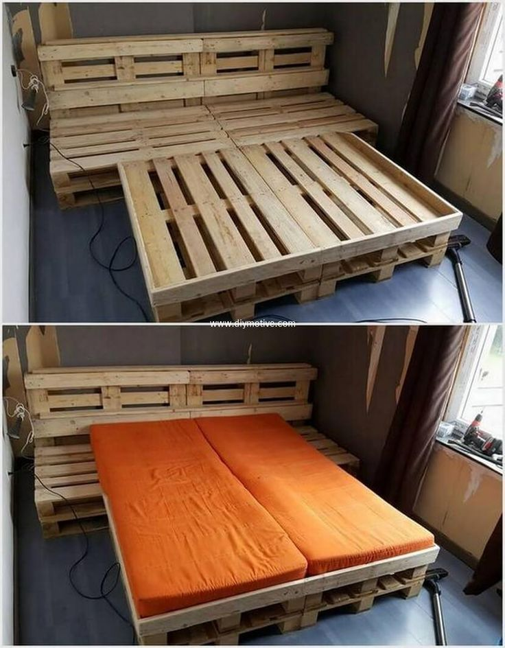 This pallet bed with attached side tables is giving whole area brilliant. This is crafted in easy and simple style. The simple wood color is giving simple and light touch to your place. It is easy to craft, the simple frame of pallet is repeated twice and joined with the help of nails and hammer.  #bed #palletbed #pallets #woodpallet #palletfurniture #palletproject #palletideas #recycle #recycledpallet #reclaimed #repurposed #reused #restore #upcycle #diy #palletart #pallet #recycling…