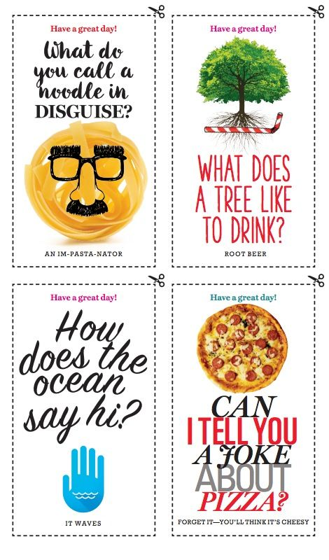 Liven up your kid's lunch period with these cute, kid-friendly jokes. We've got 6 different punchlines, sure to brighten their day.