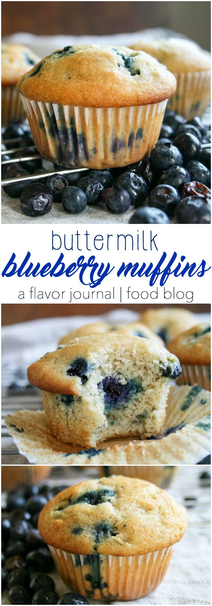 fluffy, warm, delicious blueberry muffins made with buttermilk! these are a classic breakfast or brunch MUST, and they couldn't be easier to make! buttermilk blueberry muffins http://aflavorjournal.com/buttermilk-blueberry-muffins/
