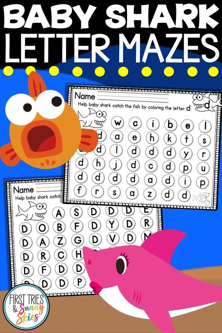 Baby Shark Letter Identification Mazes Kindergarten Activities Alphabet Letter Activities Phonics Kindergarten