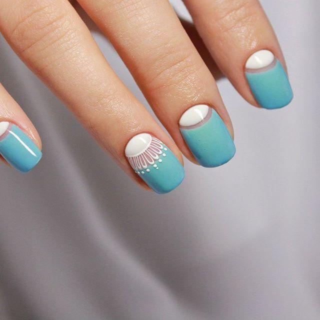 Blue nail art design   Алёна Карпенко