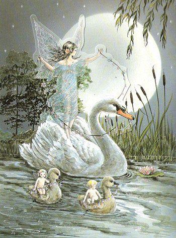 Swan Ride Glittered Die-Cut Blank Fairy Card. Sweet fairy artwork from Fairyland,