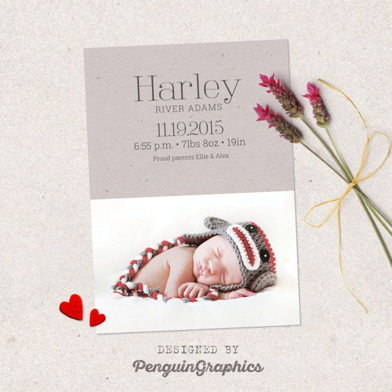 Birth announcement template card. Newborn by PenguinGraphics
