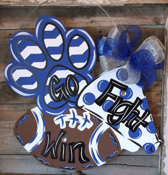 Paw print, megaphone, football, door hanger, spirit, cheerleading, football door hanger, cheer door hanger, paw print door hanger