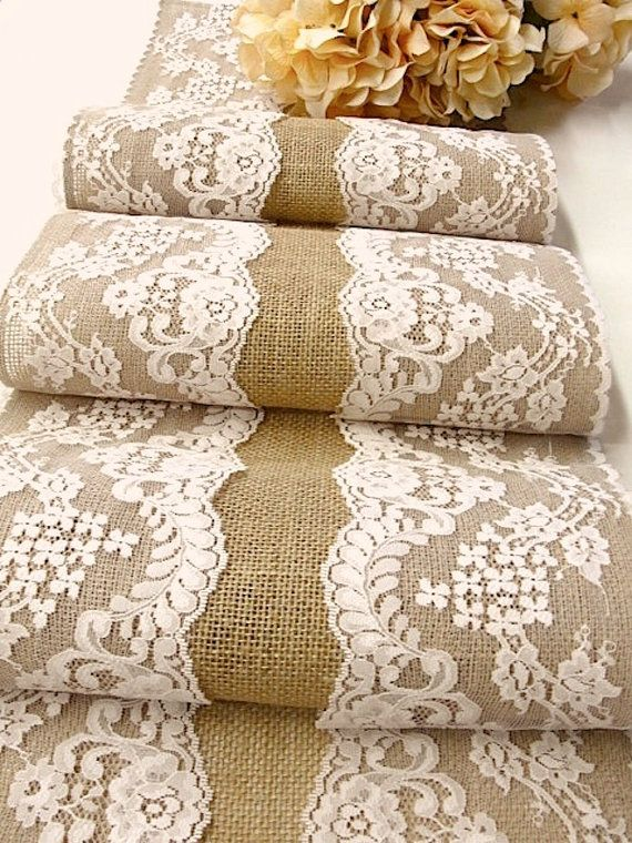 Burlap table runner wedding rustic table runner with Pastel Champagne vintage inspired lace rustic chic , handmade in the USA