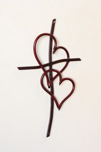 Double Heart Cross Red - in the idea of three threads combined... Love it for a wrist tattoo