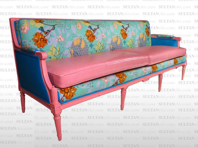 Spring is here at SULTANCHIC.COM!  All pieces featured here are one of a kind creations of artisan designer Albert Leon Sultan founder of WWW.SULTANCHIC.COM Please inquire if you'd like to purchase any piece featured here or to hire Albert to design your home.  #midcentury #retro #vintage #upholstery #wingchair #upcycle #couture #furniture #art #design #interiordesign #home #love  #pink #sultanchic #chic #fashion #hotpink #sofa #couch #flower #spring #pink #snakeskin #turquoise