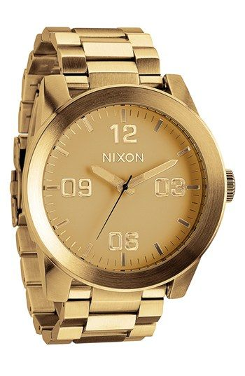 Free shipping and returns on Nixon 'The Corporal' Bracelet Watch, 48mm at Nordstrom.com. A sleek matte finish distinguishes a bold watch with a beveled bezel and stylized three-hand face.