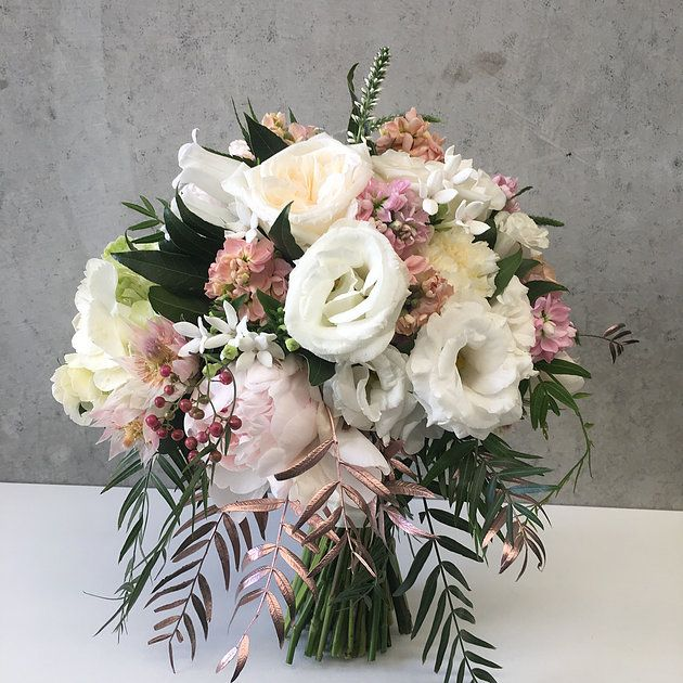 Bridal bouquet   Naomi Rose Floral Design   Rose gold leaves   white and pale pink flowers