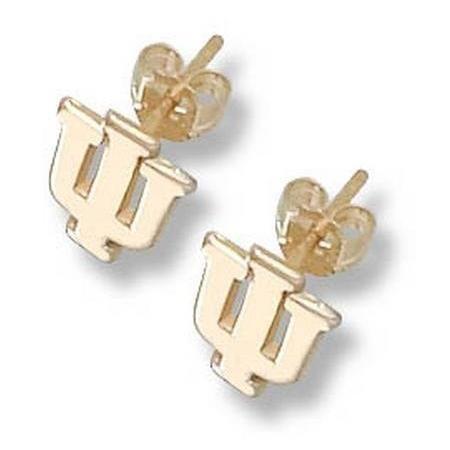"Indiana Hoosiers 3/8"" ""IU"" Post Earrings - 14KT Gold Jewelry #Indiana #IU #Hoosiers"