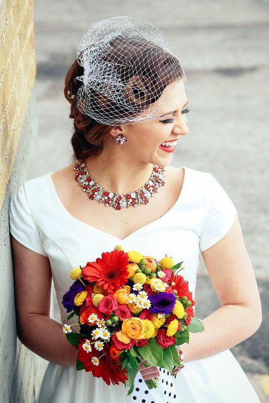 Rainbow wedding flowers | retro wedding flowers | vintage wedding flowers | colorful wedding bouqet | red yellow orange bridal bouquet