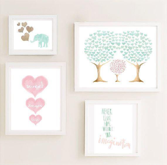 Imprimible menta rosa Galería infantiles pared arte por CheekyAlbi