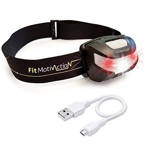 FitMotivaction (Marque française !) Lampe Frontale Led Rechargeable USB – Ultra puissante : 180 lumen ,120 mètres, autonomie 30h – Idéale…