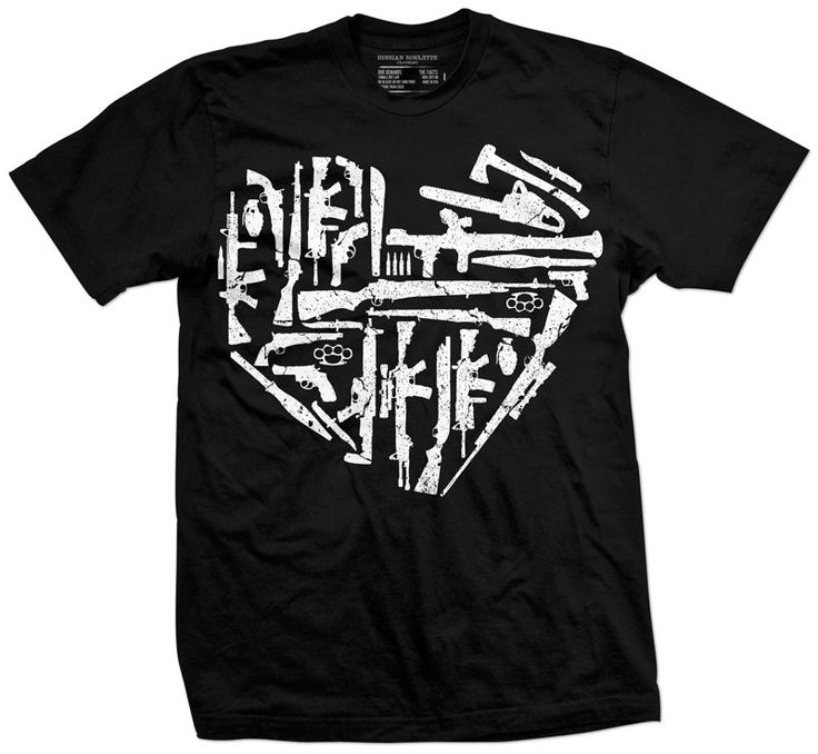 Unleash your arsenal. Chainsaws, hand grenades and of course guns.......lots of guns. The arsenal image creates the shape of a heart.Printed in USA on Anvil brand shirt. (Gildan for 4X and 5X)1...