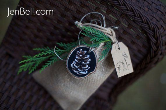 Pine Cone botanische schoolbord hout segment Ornament Birch rustieke kerstboom kamp mantel Holiday Gift Tag Wrap Winter bruiloft gunst stemmen