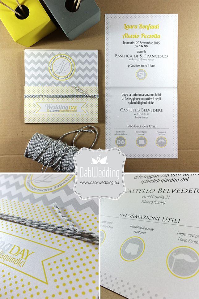 Partecipazione nozze, design minimale, texture, pois, moderna www.dab-design.com #Majestic #Favini
