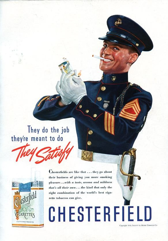 1939 Ad for Chesterfield Cigarettes