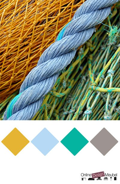 kleurinspiratie touwen | geel groen blauw grijs oker lichtblauw emerald teal groenblauw | kleurenpalet