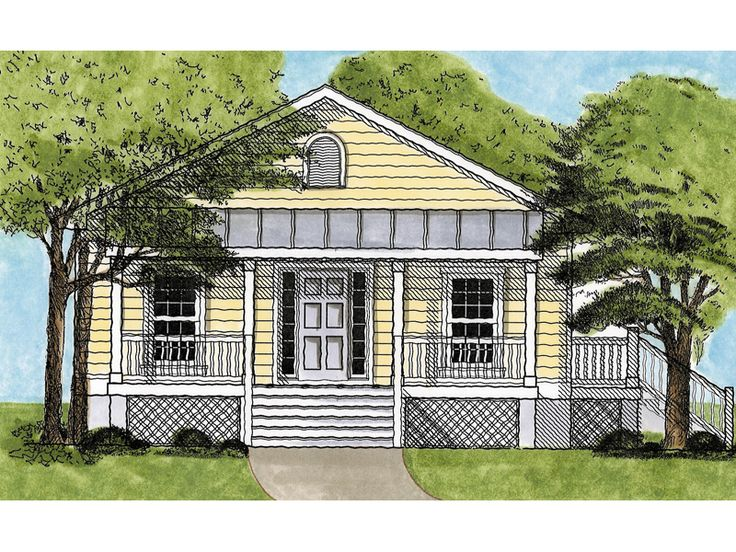Windsor place cottage home raised cottage style with for Cabin house plans covered porch