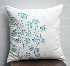Teal Floral Pillow Cover, Cream Linen Teal Flower Embroidery, Flower Throw Pillow, Home Decor, Cream Teal Pillow Shams, Floral Cushion