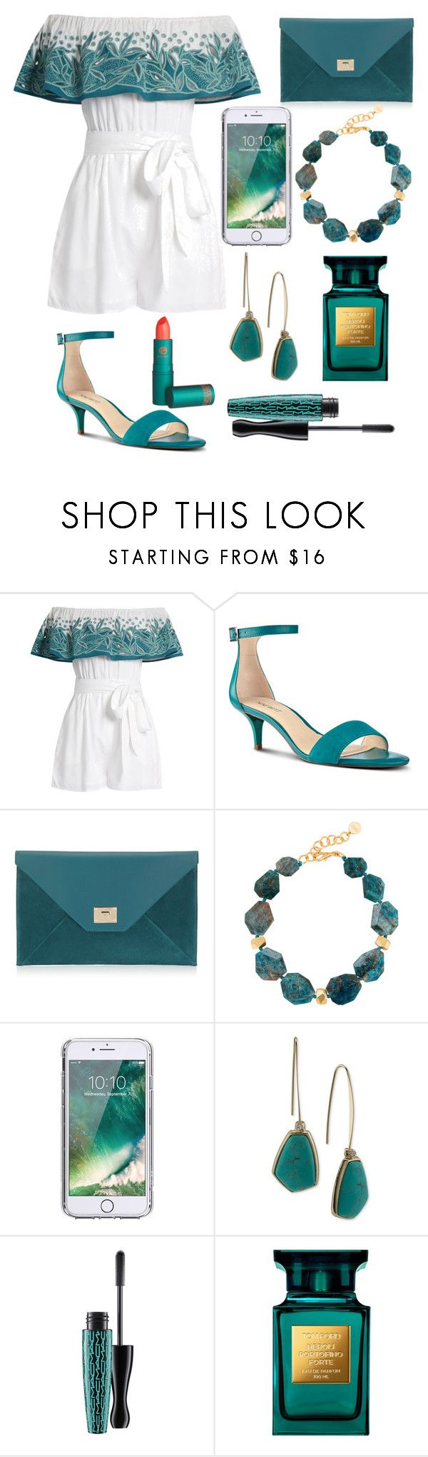 """""""Teal"""" by biajacksonwinchester ❤ liked on Polyvore featuring Mara Hoffman, Nine West, Jimmy Choo, Nest, Griffin, Lauren Ralph Lauren, MAC Cosmetics, Tom Ford and Lipstick Queen"""