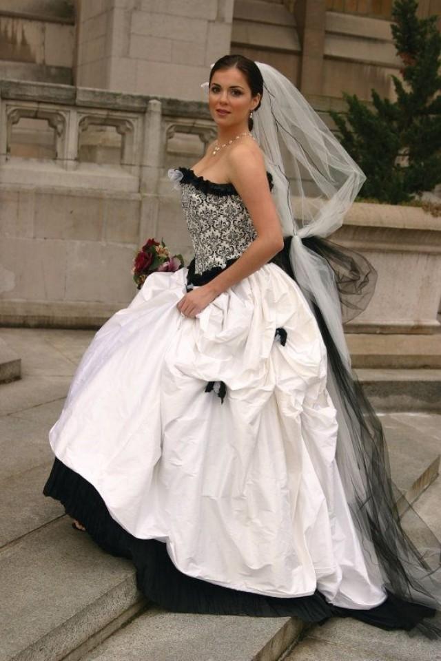 Bianco e nero Abito da sposa, Abito da sposa corsetto, One Of A Kind abito da sposa