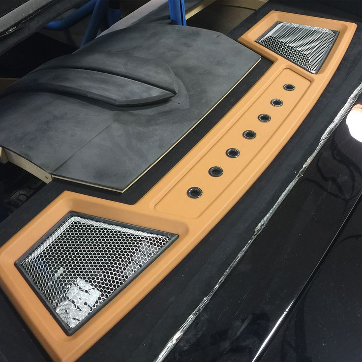 chevelle #BecauseSS custom rear deck package tray grills peanut butter interior , roll cage trunk install car audio