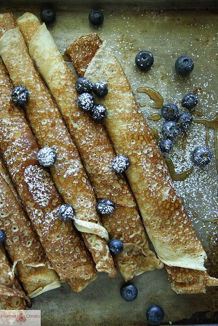 Swedish Pancakes with blueberries by Heather Christo