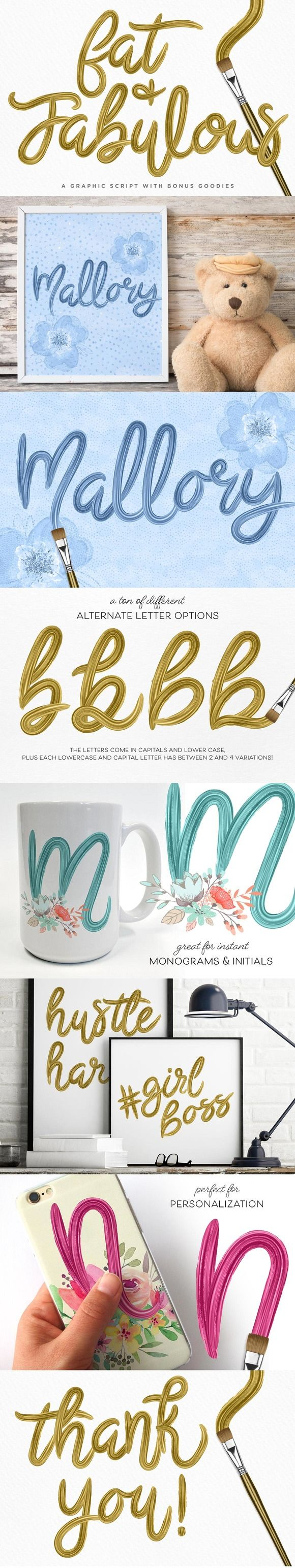 Fat & Fabulous: Graphic Brush Script by Creators Couture on @creativemarket