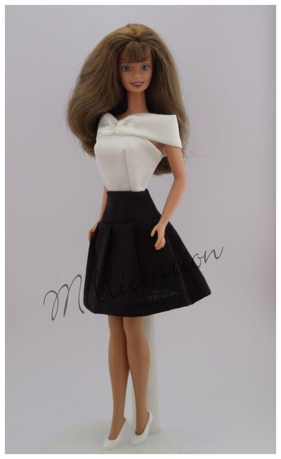 Ecru satin Barbie doll top & black pleated skirt
