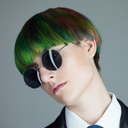 Rainbow Colored Bowl Cut