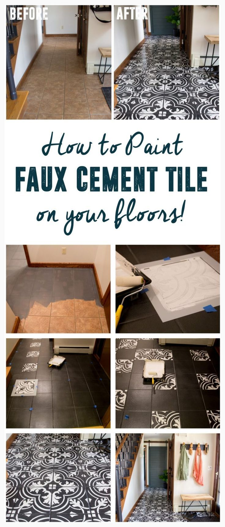 DIY Faux Cement Tile, How to Paint Tile, DIY Faux Cement Tile Floors www.BrightGreenDoor.com