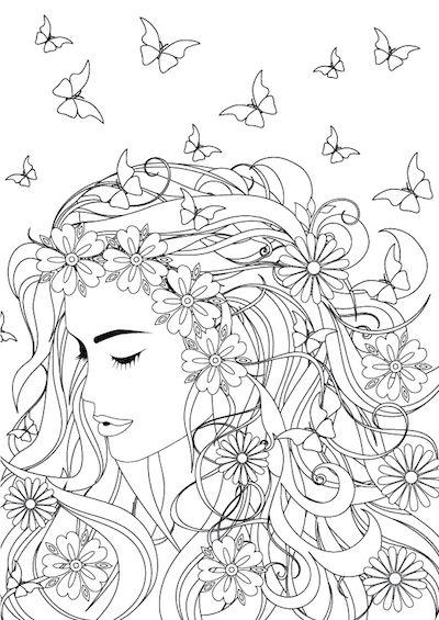 Tegning Af Kvindeh 229 R Med Sommerfugle Og Blomster F 229