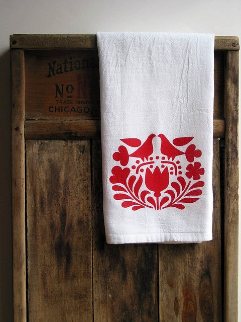 Red Scandinavian Print Dishtowel by Hummingbird Factory