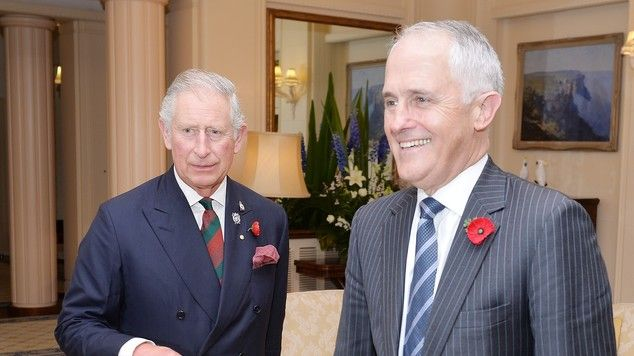 Australia's staunchly republican prime minister Malcolm Turnbull welcomes the Prince of Wa...