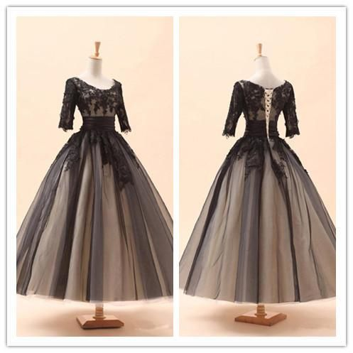 Find More Prom Dresses Information about A line Black Tulle Prom Dresses 2015 Crew Lace Appliques Half Sleeve Evening Gown Tea Length Formal Dresses Cheap Party Dresses,High Quality dress jeans dress code,China dresse Suppliers, Cheap dress pregnancy from Deep Love Dress on Aliexpress.com