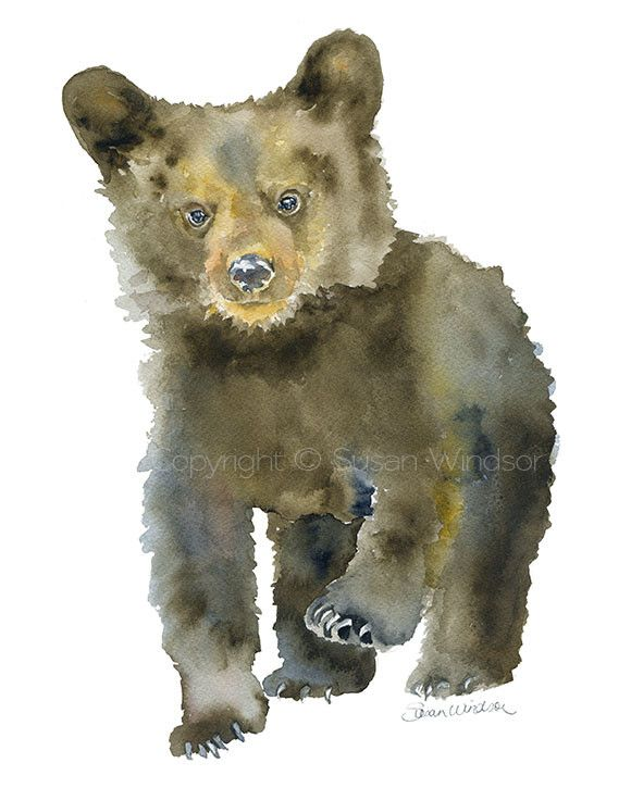 Black Bear Cub watercolor giclée reproduction. PORTRAIT/vertical orientation. Printed on fine art paper using archival pigment inks. This quality printing allow